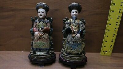 Lot of 2x Bovine or Wood King - Queen Asian Antique Vintage Statues Figures