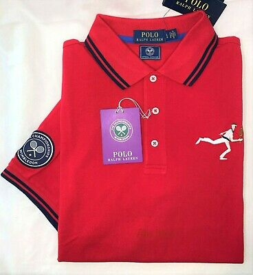 NEW Polo Ralph Lauren Wimbledon Collection Polo Shirt In Red Size L