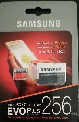 256GB MicroSD card 4K UltraHD SAMSUNG EVO PLUS w SD Adapter