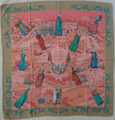 Hermes carre scarf sciarpa Tuch COSTUMES SEINE silk 90cm vintage collector