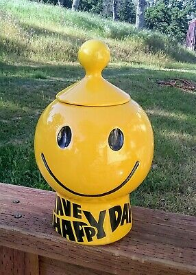 Vintage McCoy Pottery Have A Happy Day Smiley Face Cookie Jar 1970s