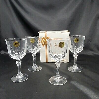 Set of 4 Cristal DArques AUTEUIL Clear Crystal Wine Glasses 6 oz Vintage New