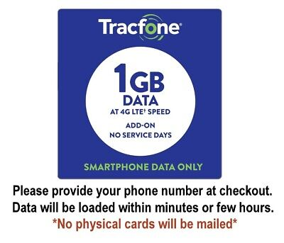 TracFone 1GB Data Add-on for Smartphone - Fast Direct Load - No Physical Cards