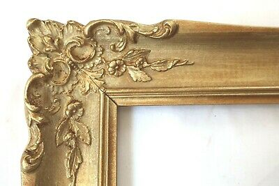 VINTAGE FITS 8 X 10 GOLD WOOD PICTURE FRAME ORNATE FLORAL FINE ART COUNTRY