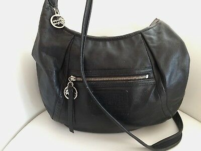 COACH POPPY 16374 Black Metallic Leather Hobo Handbag Satchel Purse