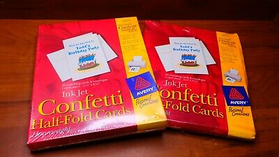 Lot of 2x Avery 3375 Ink Jet Confetti Half-Folded Cards W Envelopes 30 Count