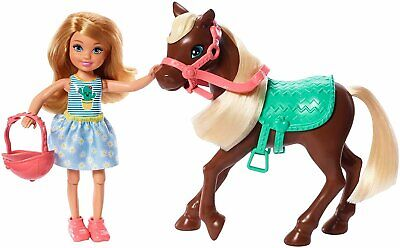 Barbie Club Chelsea Doll and Horse 6-inch Blonde Wearing Fashion and-