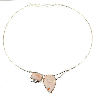 Scolite Shell Gemstone Womens Unisex Mothers Day Silver Jewelry Necklace 16