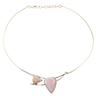 Pink Opal Gemstone Womens Unisex Mothers Day Silver Jewelry Necklace 16