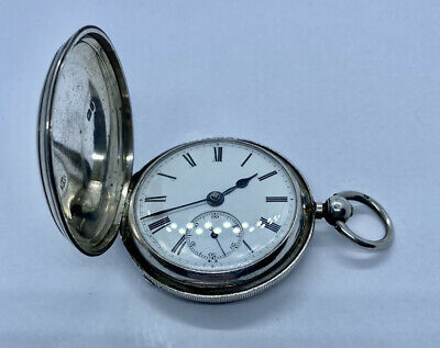 Antique Sterling Silver Full Hunter Fusee Pocket Watch James Reid Coventry 1892