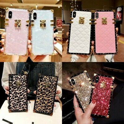 For iPhone 12 11 Pro Max XS XR 6 7 8 Luxury Glitter Leather Marble Square Case