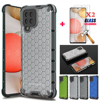 For Samsung Galaxy A42 5G Clear Case Slim Cover-Tempered Glass Screen Protectors