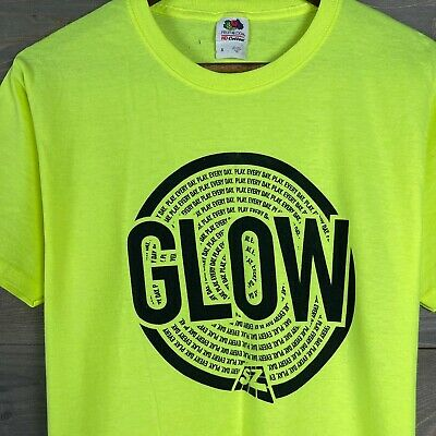 Fruit of the Loom Mens Green Glow Play Everyday Logo Graphic Tee T-Shirt Sz S