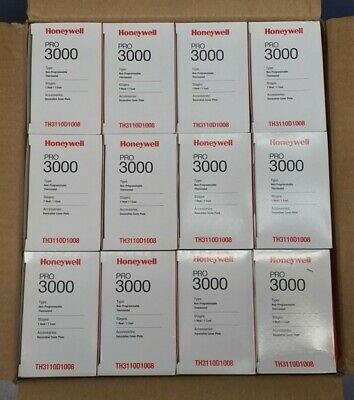 Case of 12 Honeywell PRO 3000 Non-Programmable Digital Thermostat TH3110D1008