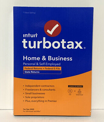 Intuit TurboTax Home - Business Federal E-File -State 2020 PC CD WINDOWS MAC NEW