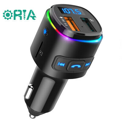 FM Transmitter Bluetooth Adapter 7 LED Backlight For Car QC 3-0 Quick Charger