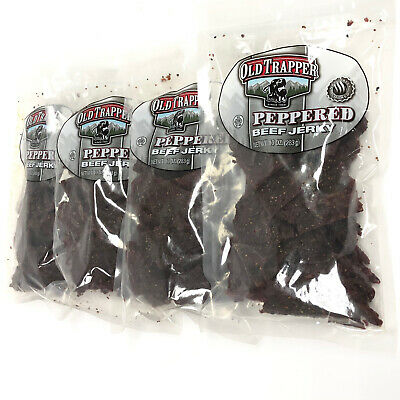 4 Bags Old Trapper Peppered Beef Jerky 10 oz Each 62023 Fresh Naturally Smoked