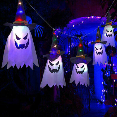 5PC Halloween LED Witch Hat String Hanging Glowing Ghost Home Garden Party Light