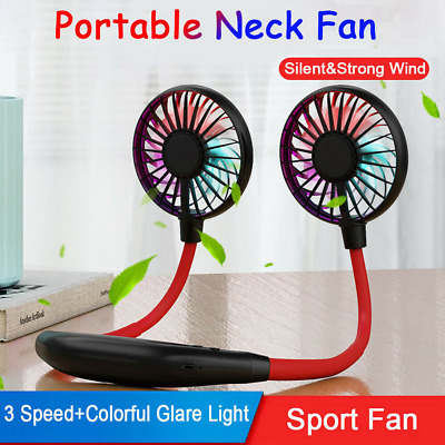 Portable USB Rechargeable Neckband Lazy Neck Hanging Dual Cooling Mini Fan Black