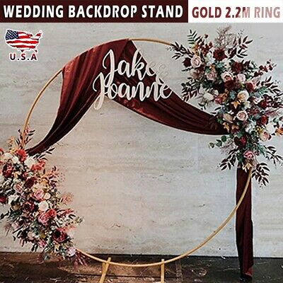 2-2M Round Circle Wedding Arch Backdrop Gold Wreath Ring Centerpiece Party new