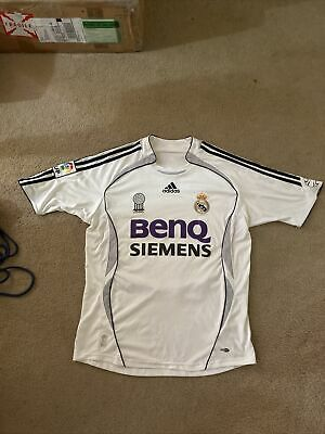 Real Madrid FC White Adidas Clima-Cool Jersey Benq Siemens 2006 Home