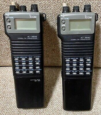 FOR PARTS or REPAIR - TWO ICOM IC-3SAT 220 MHZ FM TRANSCEIVER HAM RADIO VHF HT