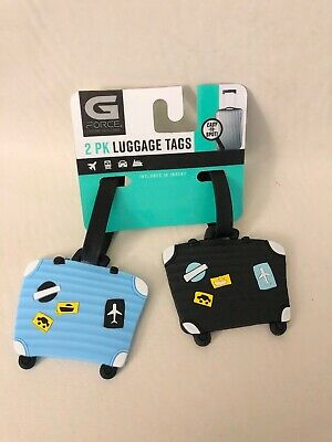 New G Force Set of 2 SUITCASES Durable Rubber Travel Luggage ID Tags