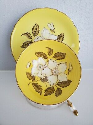 Rare Paragon  Double Warrant  Yellow Teacup and Saucer  Made in England