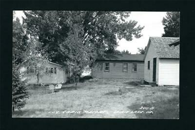Spirit Lake Iowa IA c1940s RPPC 3 Log Cabin Resort Cottages, Steel Lawn Chairs