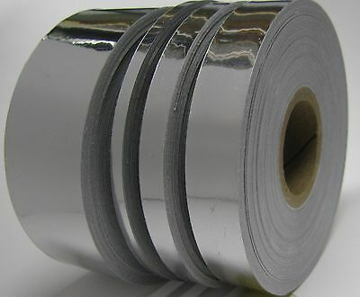 Silver Chrome Vinyl Tape Choose Your Size POLYCHROME Bright Shiny Plastic