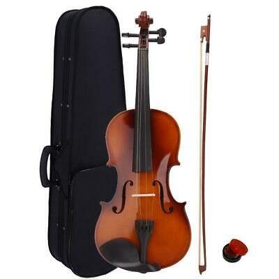 New Acoustic Violin 44 Full Size with Case and Bow Rosin Natural