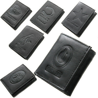 Brand New NFL Team Black Tri-Fold Leather Wallet  Assorted Teams
