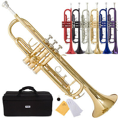 Mendini Bb Beginner Trumpet in Gold Silver Black Blue Purple Red -Care Kit-Case