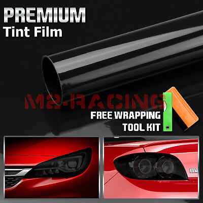 12 x 48 Gloss Dark Black Smoke Headlight Taillight Fog Light Tint Film Vinyl