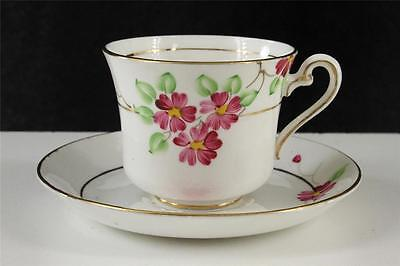 Vintage Phoenix English China Teacup - Saucer Hand Painted Pink Heart Flower