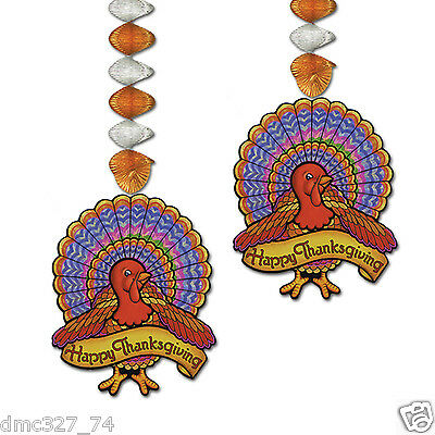 2 pc Set HAPPY THANKSGIVING Party Hanging Decoration TURKEY DANGLERS