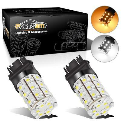2x Amber White 3157 3457 3357 Switchback 60 3528 SMD LED Turn Signal Light Bulb