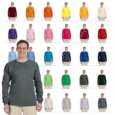 NEW Fruit Of The Loom Tee Heavy Cotton Mens Long Sleeve T-Shirt WD930