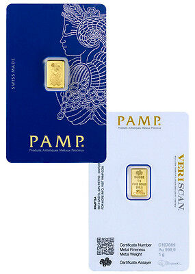 PAMP Suisse 1 Gram -9999 Gold Bar Fortuna Sealed With Assay Certificate SKU26583