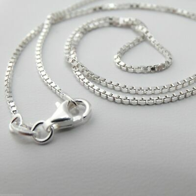 Sterling Silver 1-2mm BOX Chain Necklace - 925 Italy 16 18 20 22 24 NEW