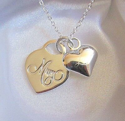 925 Sterling Silver Mom Love Mothers Day Heart Pendant Necklace Gift Box