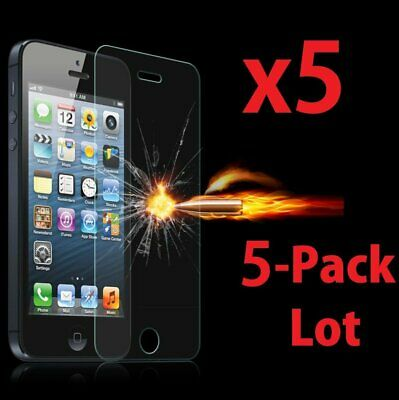 5x Wholesale Lot Tempered Glass Screen Protector for Apple iPhone 55C5S