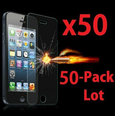 50x Wholesale Lot Tempered Glass Screen Protector for Apple iPhone 55C5S