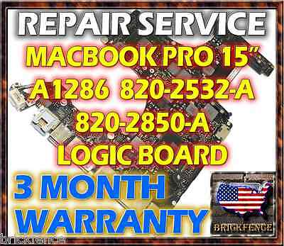 MACBOOK PRO A1286 15 820-2532-A 820-2850-A LOGIC BOARD MOTHERBOARD VIDEO REPAIR