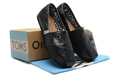 New Authentic Women Black Glitter Toms Shoes