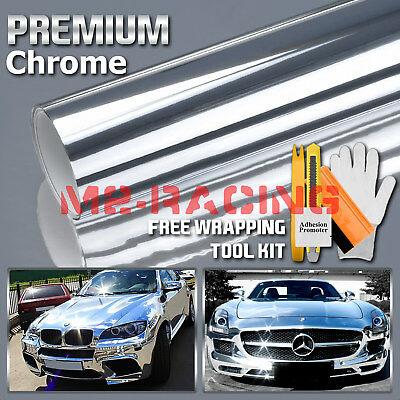 Premium Silver Chrome Vinyl Wrap Sticker Decal Sheet Film Bubble Free 3 Layers