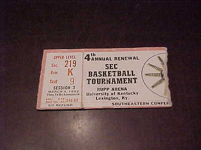 1982 SEC Tournament Basketball Ticket Alabama Crimson Tide Kentucky Wildcats