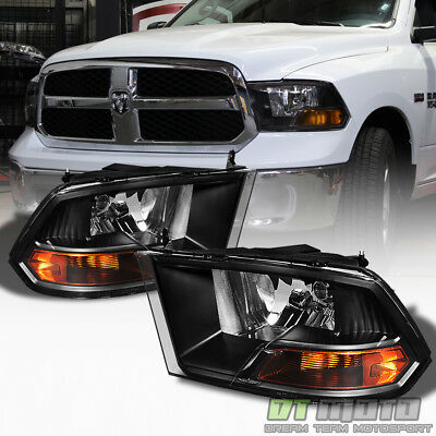 2009-2018 Dodge Ram Black Headlights Lamps Replacement Left-Right 09-18 Lights