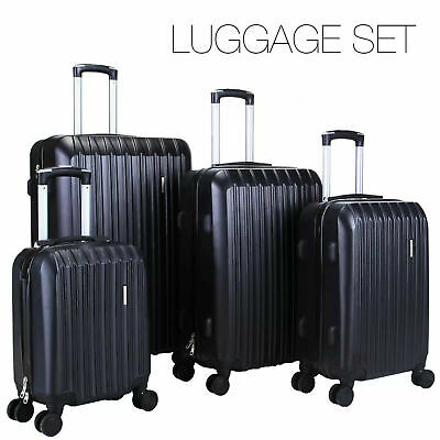 4Pcs Luggage Travel Set Bag ABS Spinner Trolley Carry On Suitcase TSA Lock Black