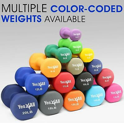 Yes4All Neoprene Dumbbell Weight Set for Home Gym - Weight Set 2 - 20 lb